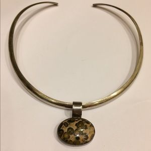 Jewelry - Sterling Silver Choker Necklace & Pendant